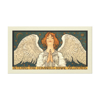 Vintage Religious Angel Praying with Gold Stars Canvas Print