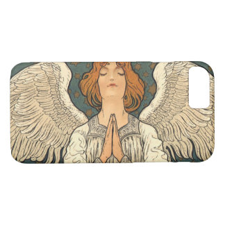 Vintage Religious Angel Praying with Gold Stars iPhone 7 Case