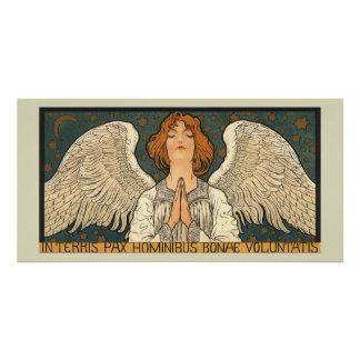 Vintage Religious Angel Praying with Gold Stars Poster