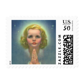 Vintage Religious Children, Girl with Halo Praying Postage