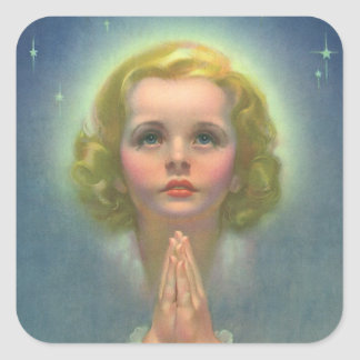 Vintage Religious Children, Girl with Halo Praying Square Sticker