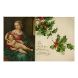 Vintage Religious Christmas Blessings Poster