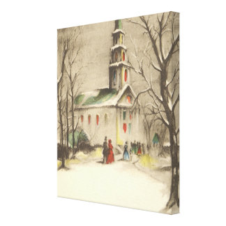 Vintage Religious Christmas, Church, Snow, Winter Stretched Canvas Print