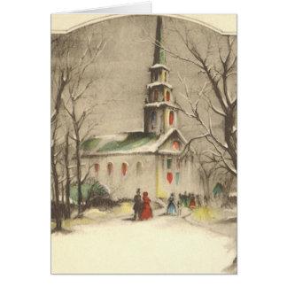 Vintage Religious Christmas Church Snow Winter Greeting Card