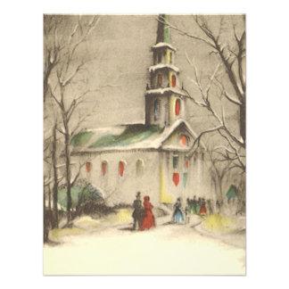 Vintage Religious Christmas Church Snow Winter Announcements
