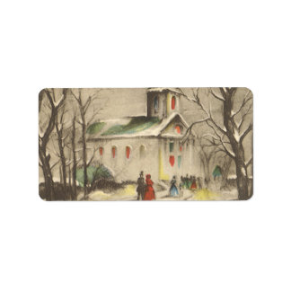 Vintage Religious Christmas Church Snow Winter Custom Address Labels