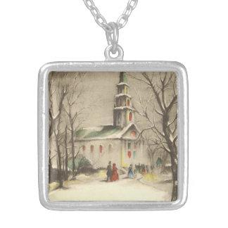 Vintage Religious Christmas, Church, Snow, Winter Custom Jewelry