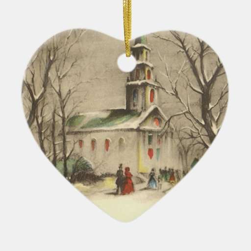 Vintage Religious Christmas, Church, Snow, Winter Christmas Ornaments
