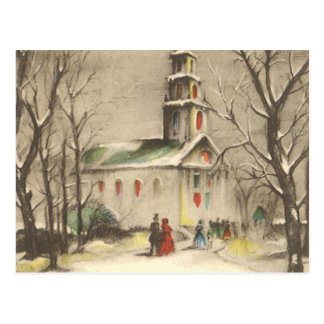 Vintage Religious Christmas Church Snow Winter Post Card