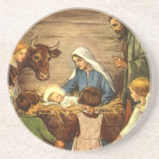 Vintage Religious Christmas, Nativity, Baby Jesus Drink Coaster