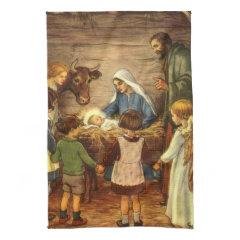 Vintage Religious Christmas, Nativity, Baby Jesus Hand Towel