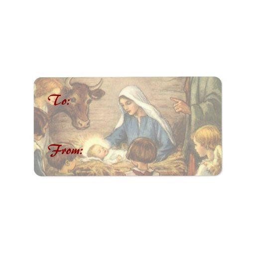 Religious christmas nativity baby jesus address label zazzle