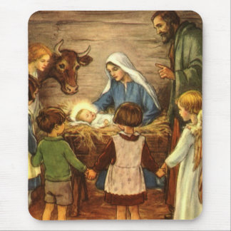 Vintage Religious Christmas, Nativity, Baby Jesus Mouse Pad
