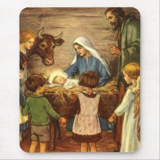 Vintage Religious Christmas, Nativity, Baby Jesus Mouse Pad