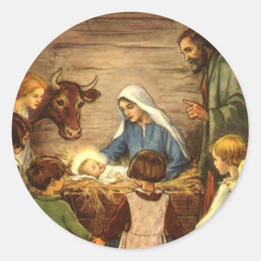 Vintage Religious Christmas, Nativity, Baby Jesus Stickers