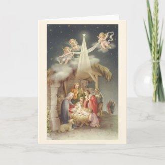 Vintage Religious Christmas Nativity Greeting Card