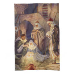 Vintage Religious Christmas, Nativity Magi Wisemen Hand Towels
