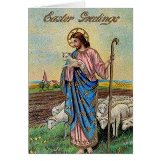 VIntage Religious Easter Card, Jesus the Shepherd