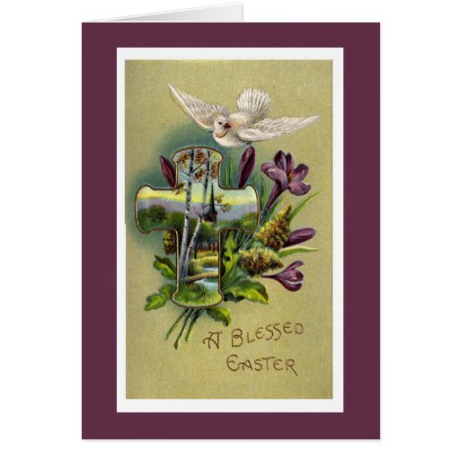 vintage religious easter cross greeting card zazzle. Black Bedroom Furniture Sets. Home Design Ideas