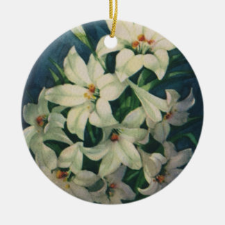 Vintage Religious Easter Greetings, Lily Flowers Ceramic Ornament