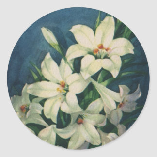 Vintage Religious Easter Greetings, Lily Flowers Classic Round Sticker