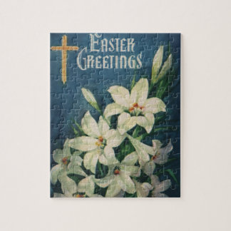 Vintage Religious Easter Greetings, Lily Flowers Jigsaw Puzzle