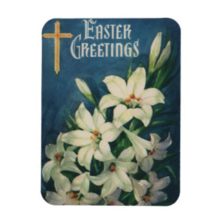 Vintage Religious Easter Greetings, Lily Flowers Magnet