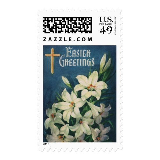 Vintage Religious Easter Greetings, Lily Flowers Postage
