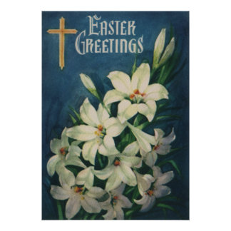 Vintage Religious Easter Greetings, Lily Flowers Poster
