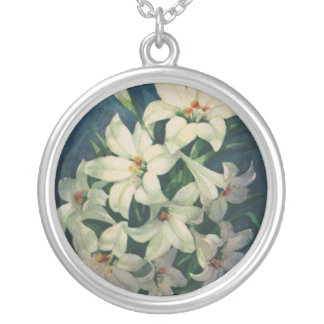 Vintage Religious Easter Greetings, Lily Flowers Silver Plated Necklace