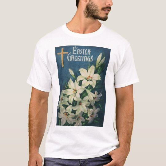 Vintage Religious Easter Greetings, Lily Flowers T-Shirt