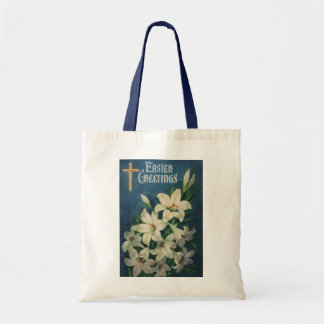 Vintage Religious Easter Greetings, Lily Flowers Tote Bag