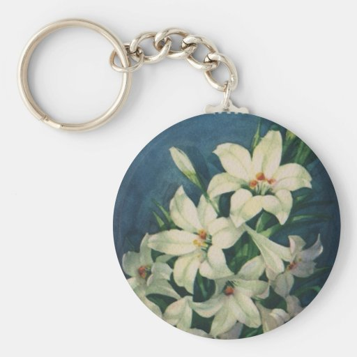 Vintage Religious Easter Greetings with Lilies Basic Round Button Keychain