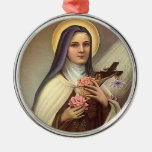 Vintage Religious Easter, Nun with Cross Round Metal Christmas Ornament