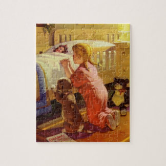 Vintage Religious Girl Praying Pet Dog at Bedtime Jigsaw Puzzle