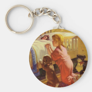 Vintage Religious Girl Praying Pet Dog at Bedtime Keychain