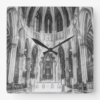 Vintage religious Gothic catholic church cathedral Square Wall Clock