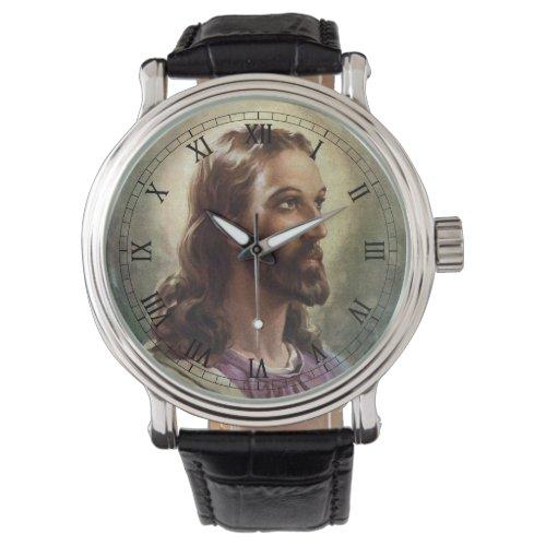 Vintage Religious, Jesus Christ Portrait with Halo Watch