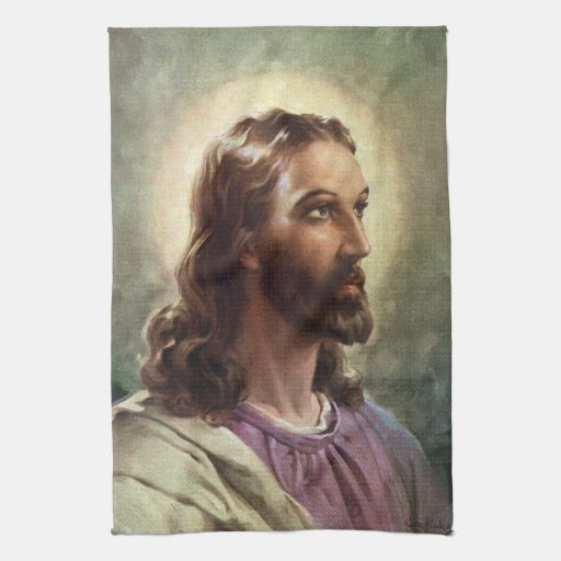 Vintage Religious People, Portrait of Jesus Christ Kitchen Towel