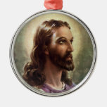 Vintage Religious People, Portrait of Jesus Christ Round Metal Christmas Ornament