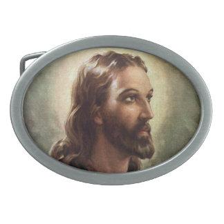 Vintage Religious People, Portrait of Jesus Christ Oval Belt Buckles