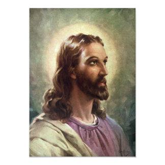 Vintage Religious Portrait, Jesus Christ with Halo Card