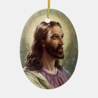 Vintage Religious Portrait, Jesus Christ with Halo Ceramic Ornament
