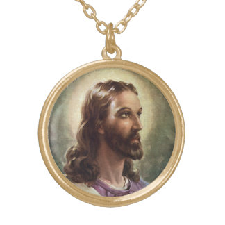 Vintage Religious Portrait, Jesus Christ with Halo Gold Plated Necklace