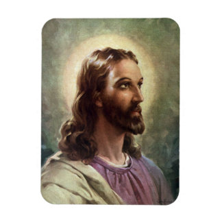 Vintage Religious Portrait, Jesus Christ with Halo Magnet