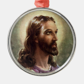 Vintage Religious Portrait, Jesus Christ with Halo Metal Ornament
