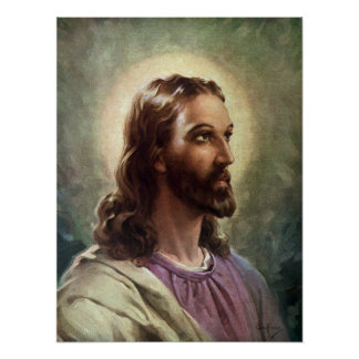 Vintage Religious Portrait, Jesus Christ with Halo Poster
