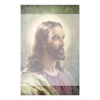 Vintage Religious Portrait, Jesus Christ with Halo Stationery