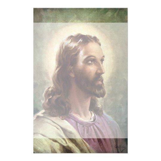 Vintage Religious Portrait Jesus Christ With Halo
