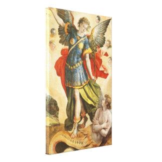 Vintage Religious, Saint Michael Defeats Lucifer Canvas Print